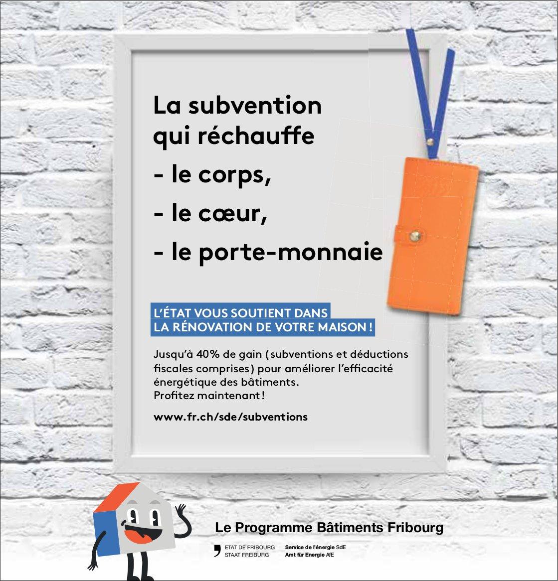 Le Programme Bâtiments Fribourg - L'état vous soutient dans la rénovation de votre maison