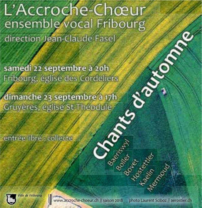 L' Accroche-Choeur ensemble vocal, 22 septembre, église des Cordeliers, Fribourg