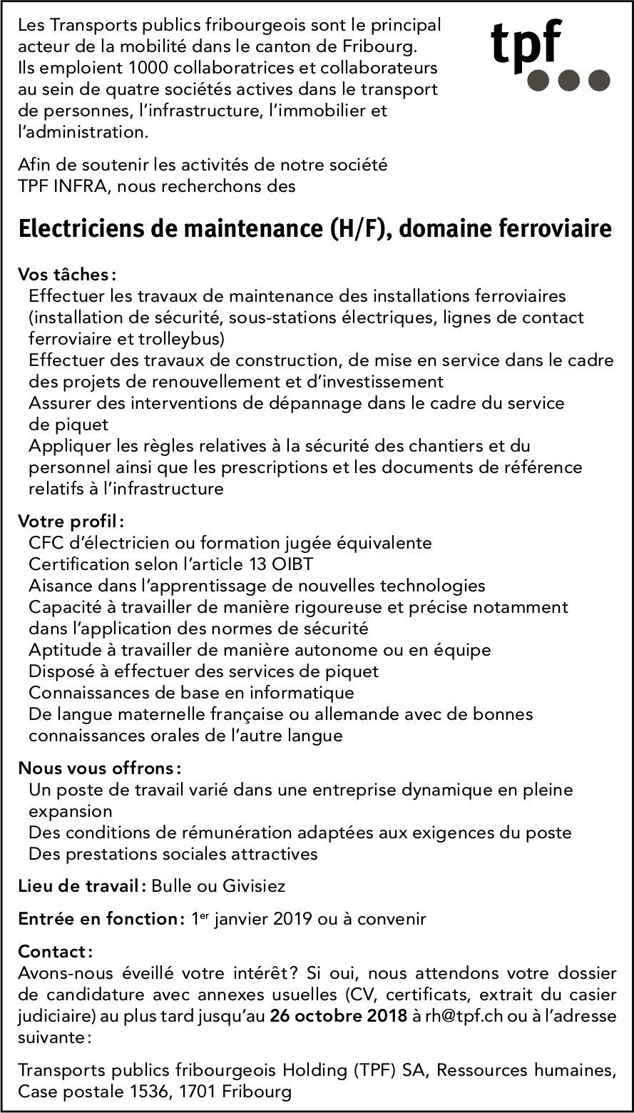 Électriciens de maintenance (H/F), domaine ferroviaire, tpf, Fribourg, recherché