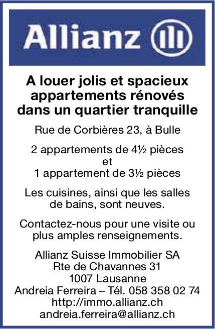 Appartements rénovés dans un quartier tranquille, 3.5 et 4.5 pièces, Bulle, à louer