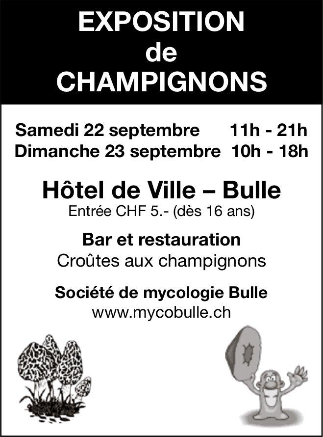 EXPOSITION DE CHAMPIGNONS, 22-23 septembre, Hôtel de Ville, Bulle
