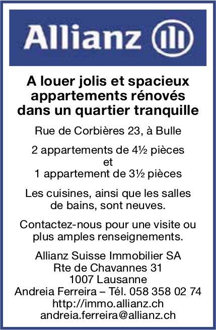 Appartements rénovés, 3.5 et 4,5 pièces, Bulle, à louer