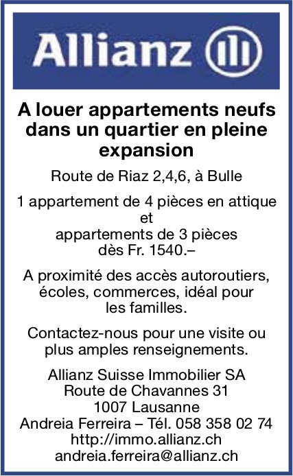 Appartements neufs, 3 et 4 pièces, Bulle, à louer