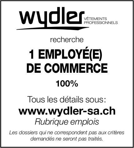 1 EMPLOYÉ(E) DE COMMERCE 100%, Wydler, recherché