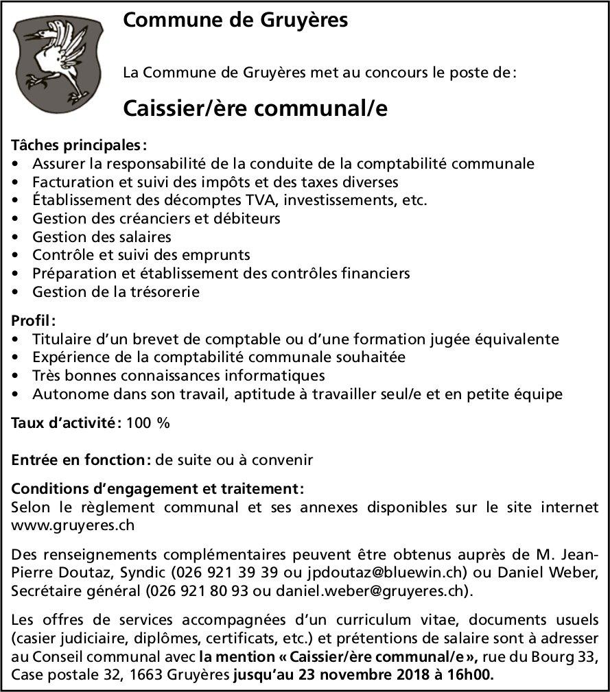 Caissier/ère communal/e 100%, Commune de Gruyère, recherché
