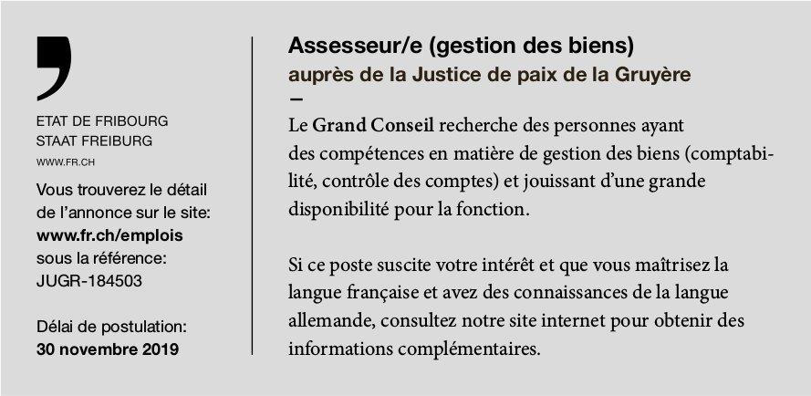 Assesseur/e (gestion des biens) auprès de la Justice de paix de la Gruyère, État de Fribourg