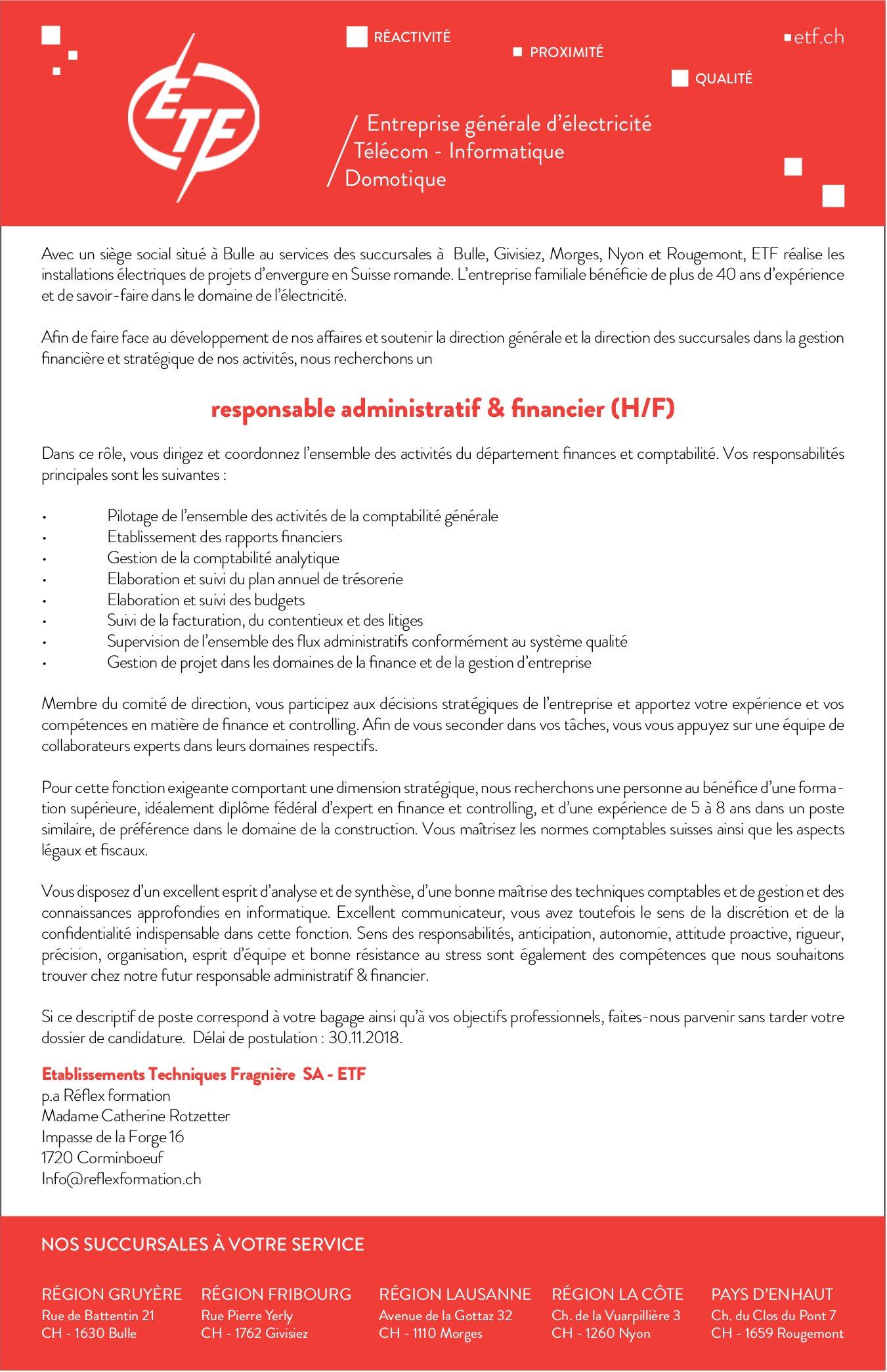 Responsable administratif & financier (H/F), ETF, Bulle, recherché