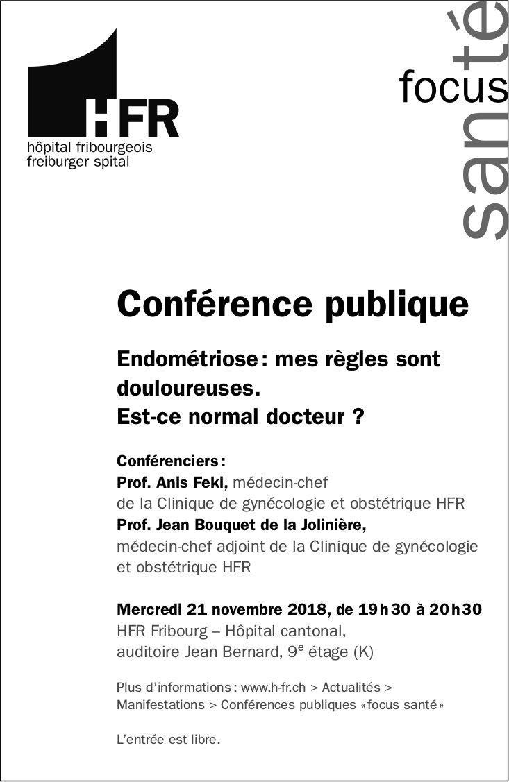 Conférence publique, 21 novembre, hôpital fribourgeois, Fribourg