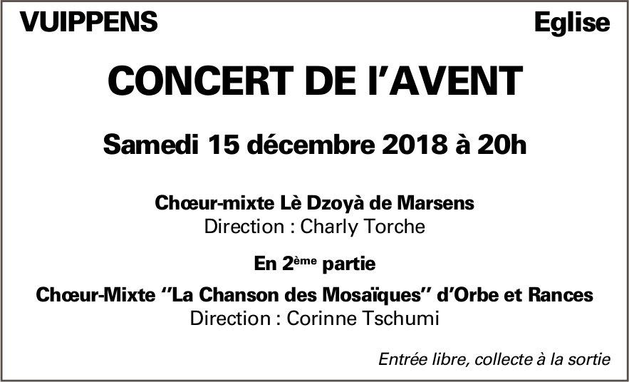 CONCERT DE l'AVENT, 15 décembre, Eglise, Vuippens