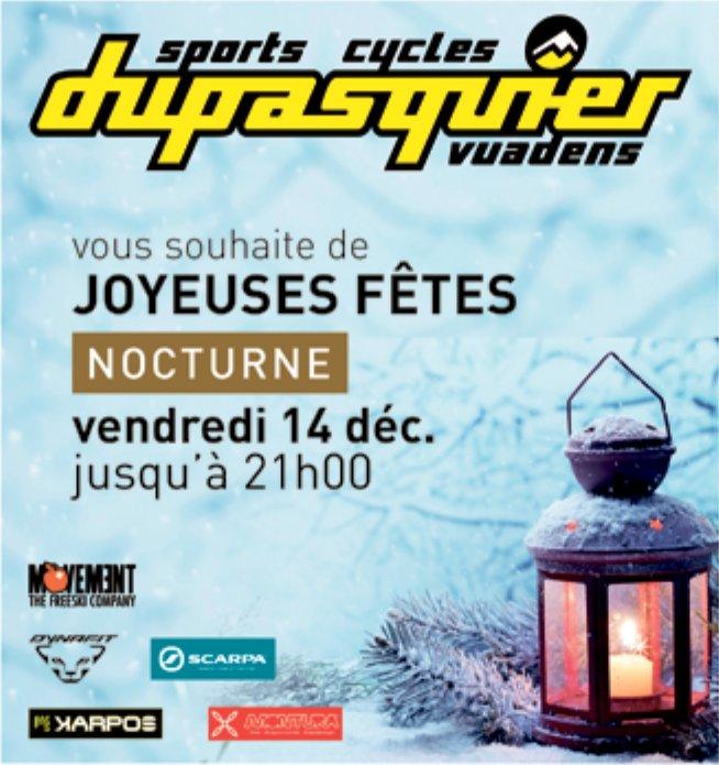 Sports cycles dupasquier, Vuadens, Vous souhaites Joyeuses Fêtes nocturne
