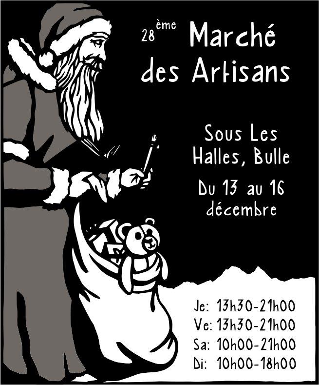 28 ème Marché des Artisans, 13 au 16 décembre, Sous Les Halles, Bulle