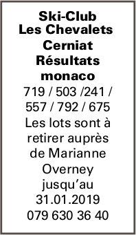 Ski-Club Les Chevalets Cerniat Résultats monaco