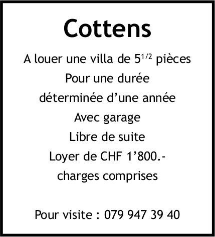Villa, 5.5 pièces, Cottens, à louer
