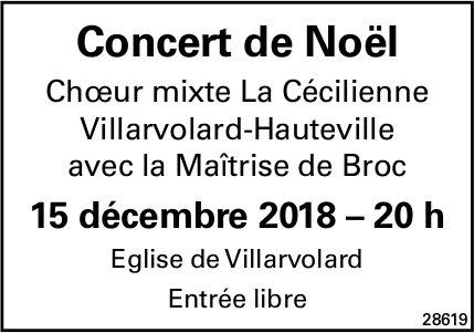 Concert de Noël, 15 décembre, Église de Villarvolard