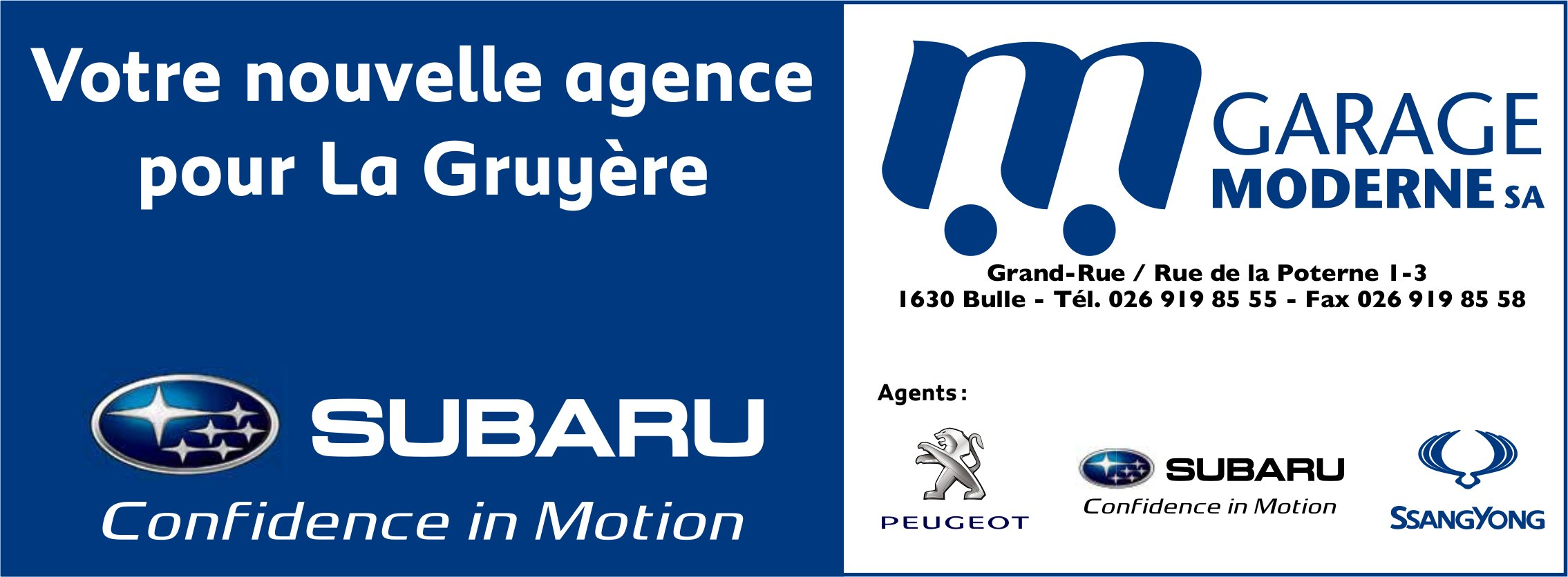 GARAGE MODERNE SA, Bulle, Votre nouvelle agence pur La Gruyère