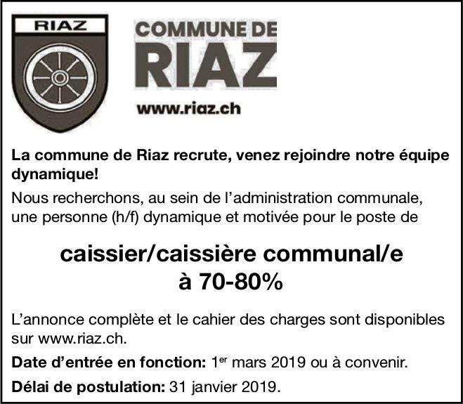 Caissier/caissière communal/e  à 70-80%, Commune de Riaz, recherché/e
