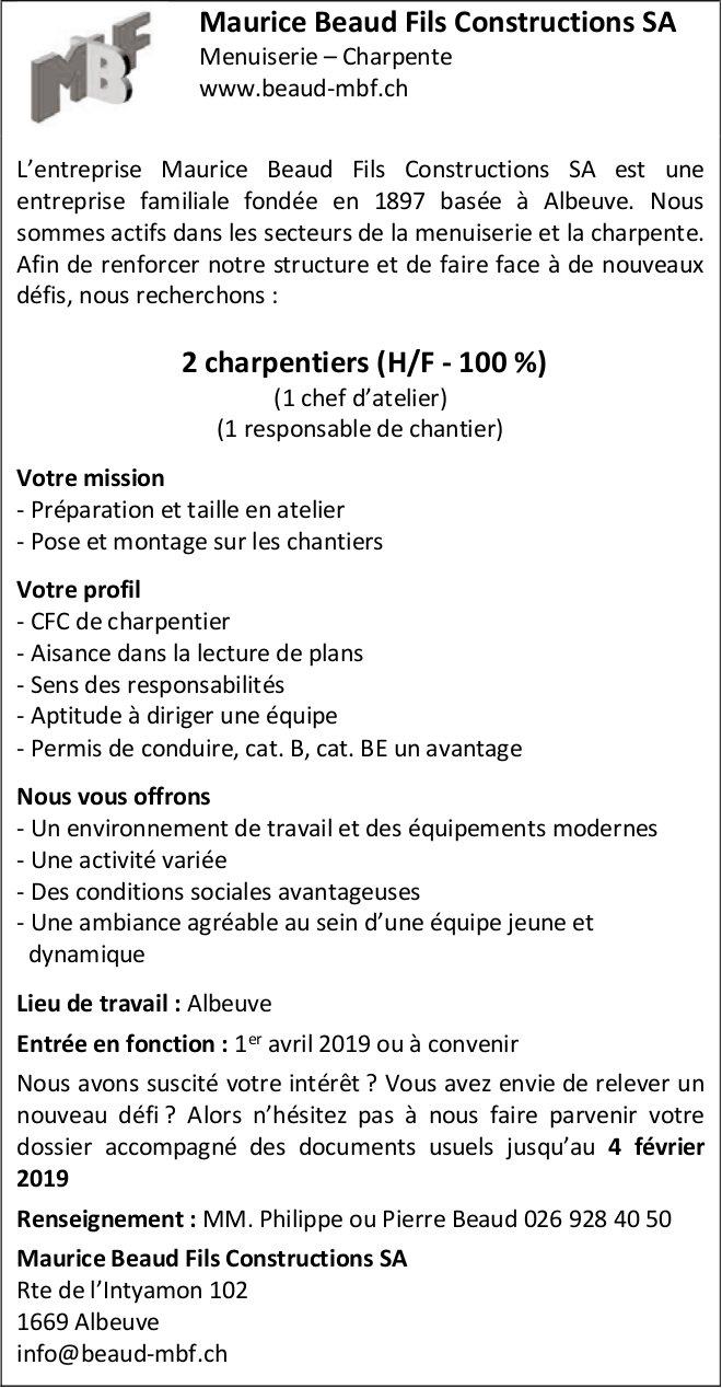 2 charpentiers (H/F - 100 %), Maurice Beaud Fils Constructions SA, Albeuve, Recherchés