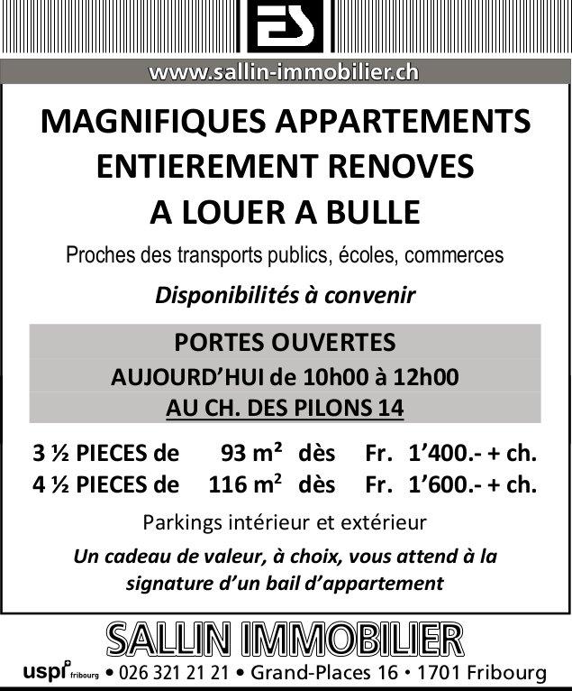 MAGNIFIQUESAPPARTEMENTS, 3.5 et 4.5 PIÈCES, BULLE, A LOUER