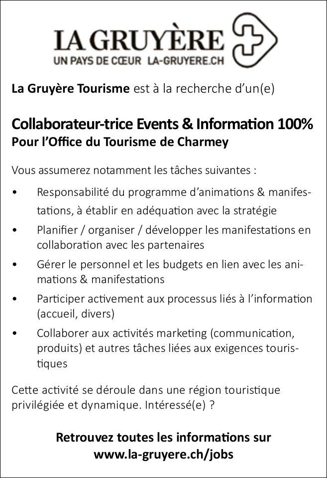 Collaborateur-trice Events & Information 100%, Pour l'Office du Tourisme de Charmey, recherché
