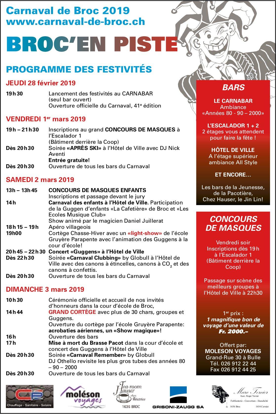 BROC'EN PISTE, 28 février au 3 mars, Carnaval de Broc