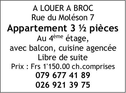 Appartement 3.5 pièces, Broc, à louer