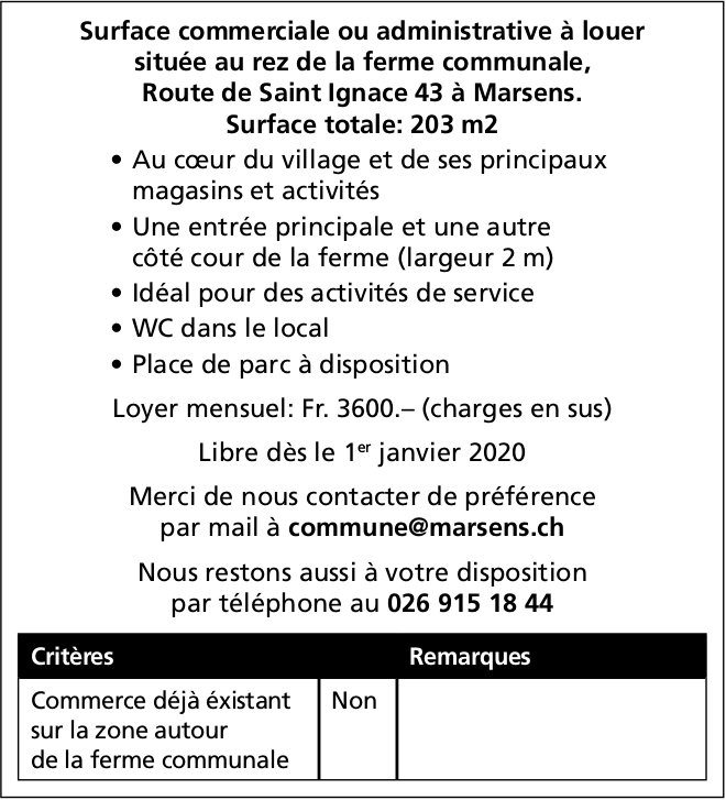 Surface commerciale ou administratice, 203 m2, Marsens, à louer