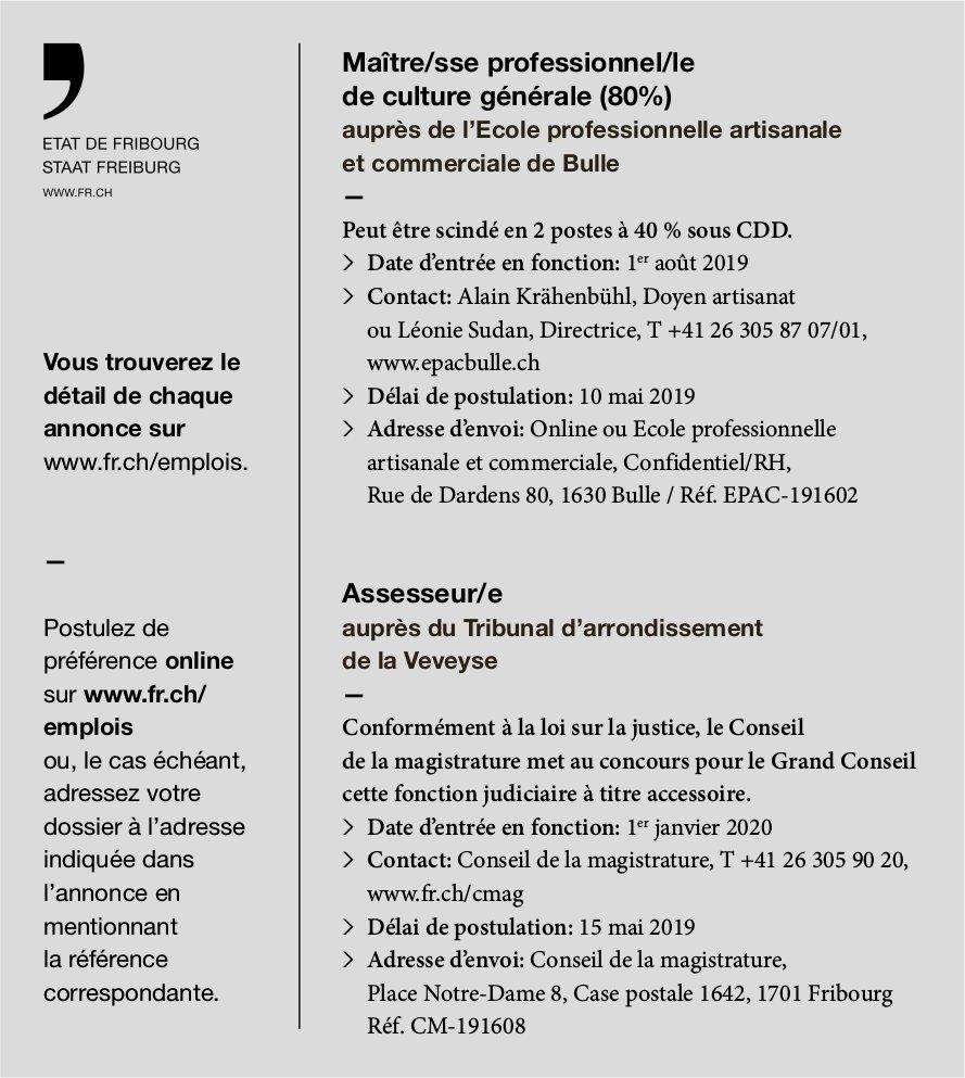 Maître/sse professionnel/le de culture générale (80%) et Assesseur/e, État de Fribourg, recherché/es