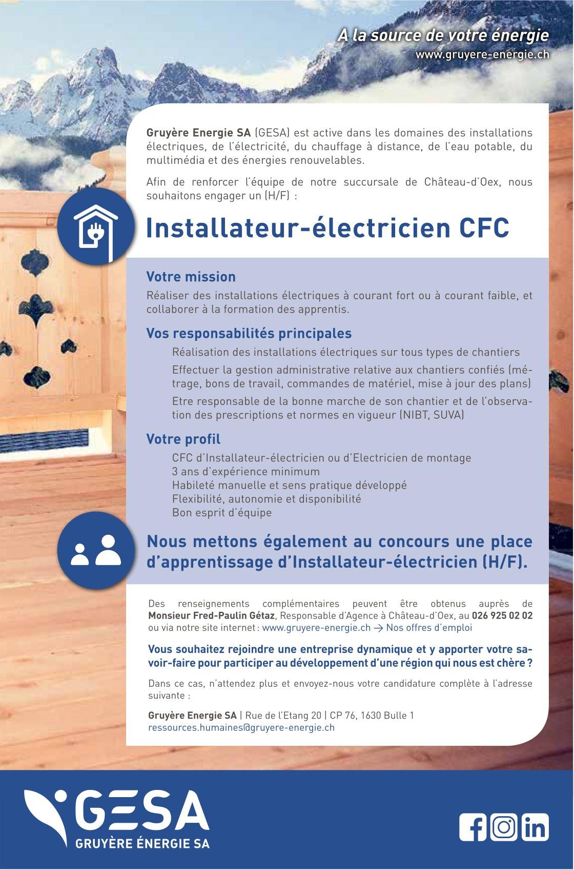 Installateur-électricien CFC, GESA, Château d'Oex, recherché/e