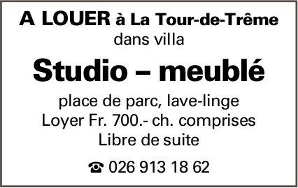 Studio meublé, La Tour-de-Trême, à louer