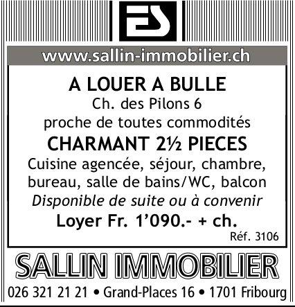 CHARMENT APPARTEMENT, 2.5 PIÈCES, BULLE, À LOUER