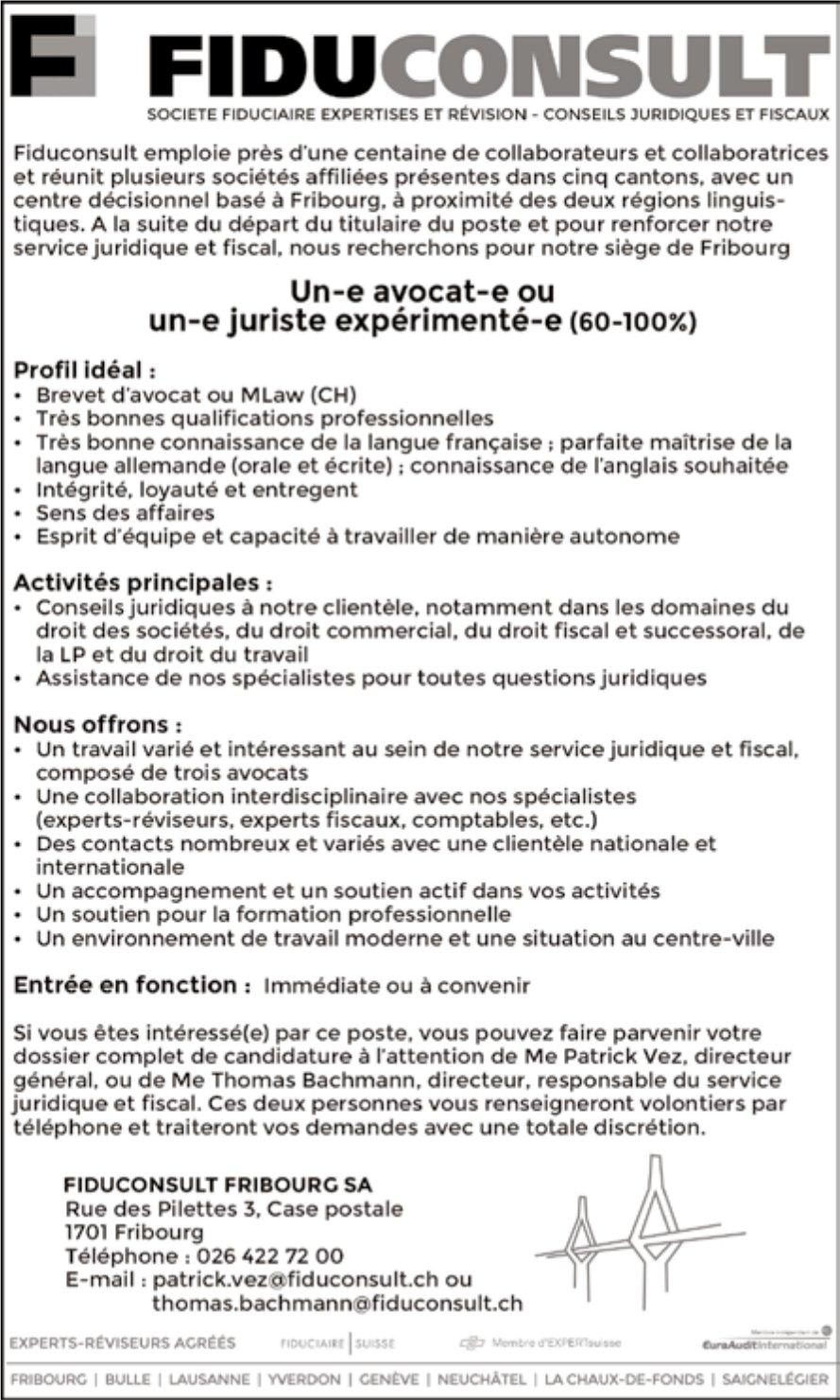 Un-e avocat-e ou un-e juriste experimente-e (60-100%), Fiduconsult SA, Fribourg, rechercher