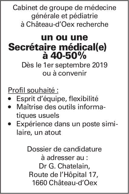 Un ou une Secrétaire médical(e) à 40-50%, Dr G. Chatelain, Château-D'Oex, recherché
