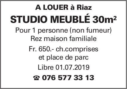 Studio meublé 30 m2, Riaz, à louer