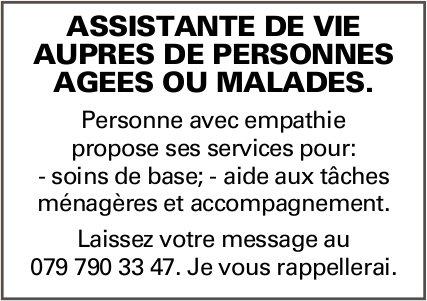 ASSISTANTE DE VIE AUPRÈS DE PERSONNES AGÉES OU MALADES, RECHERCHÉ