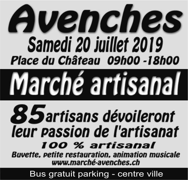 Marché artisanal, 20 juillet, Plae du Château, Avenches