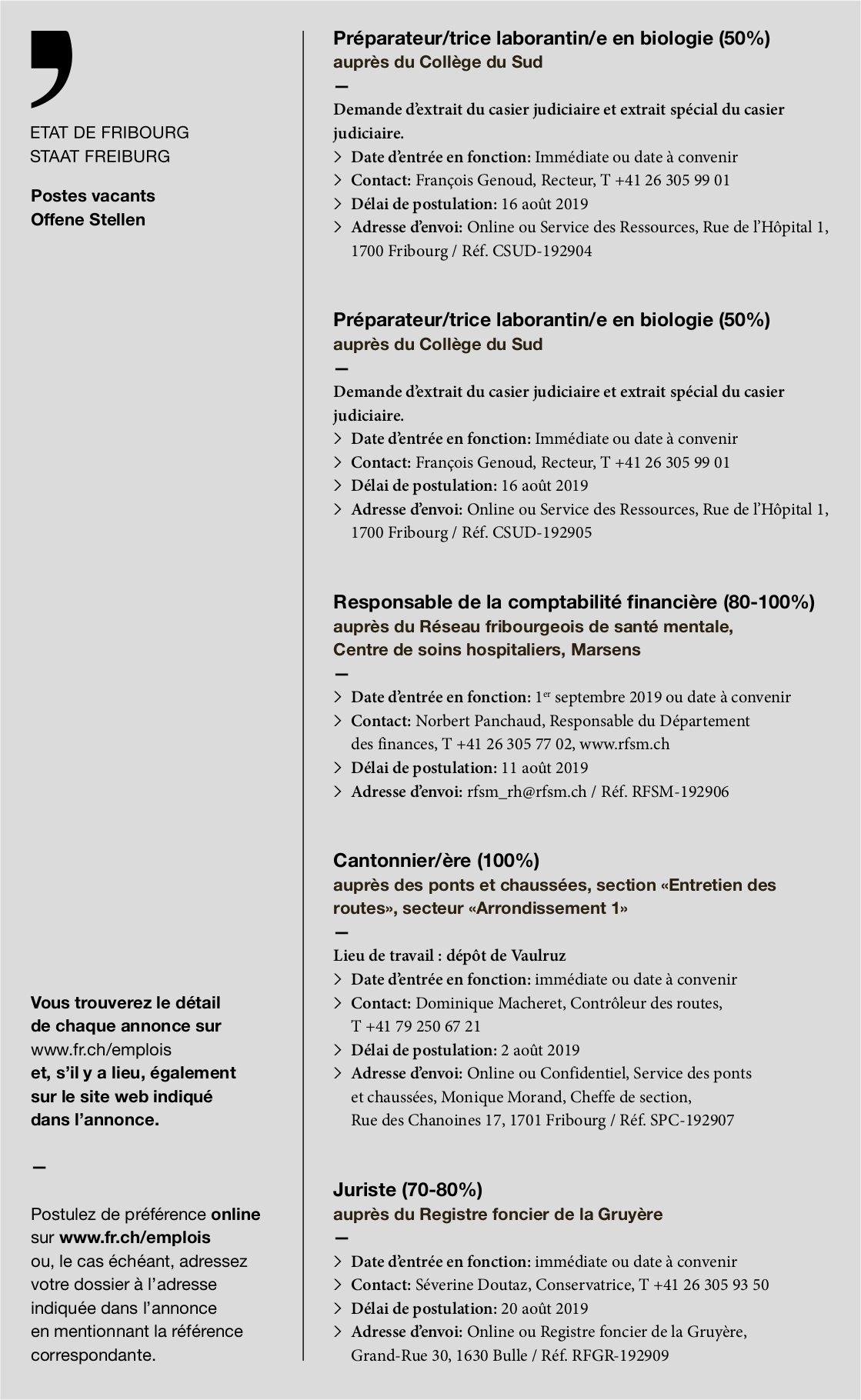 Préparateur/trice laborantin/e en biologie (50%), Collège du Sud, Fribourg, recherché