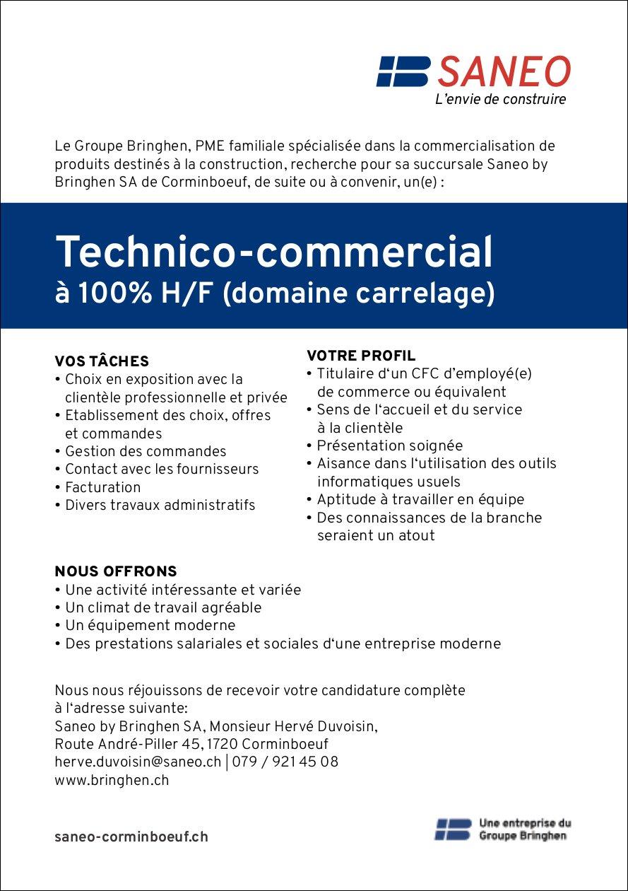 Technico-commercial à 100% H/F (domaine carrelage), Saneo by Bringhen SA, Corminboeuf, recherché