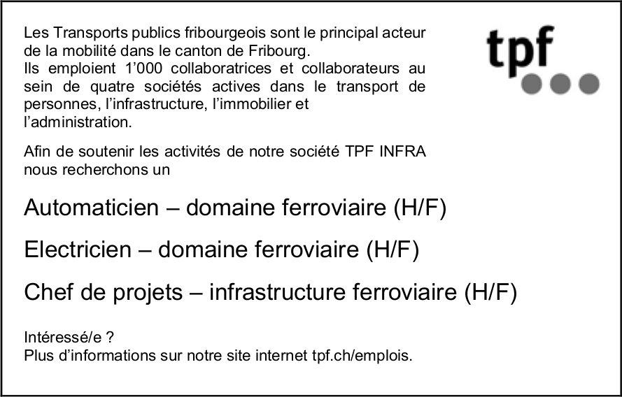 Automaticien, Électricien, Chef de projets– domaine ferroviaire (H/F), Tpf, Fribourg, recherché