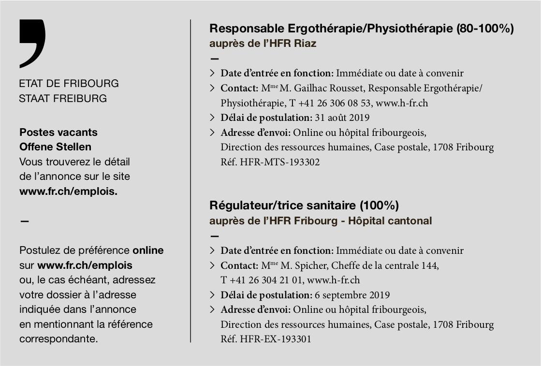 Responsable Ergothérapie/Physiothérapie (80-100%), l'HFR, Riaz, recherché
