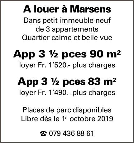 Appartement 3 ½ pièces, Marsens, à louer