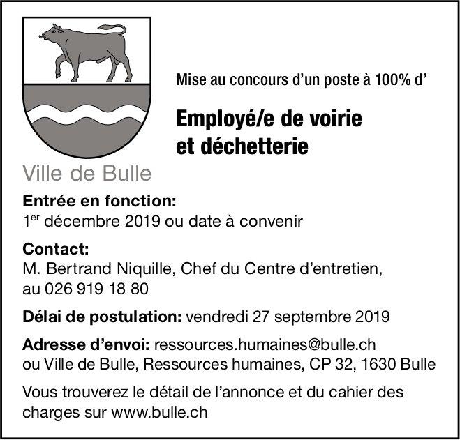 Employé/e de voirie et déchetterie 100%, Ville de Bulle, recherché