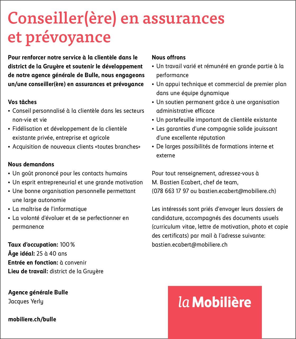 Conseiller(ère) en assurances et prévoyance, la Mobilière, district la Gruyère, recherché