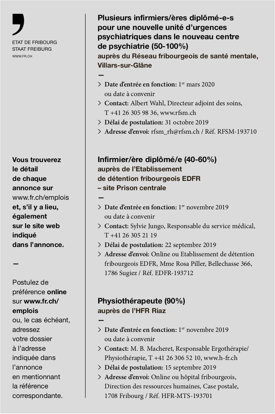 Infirmier/ère diplômé/e (40-60%), Établissement de détention, Fribourg, recherché