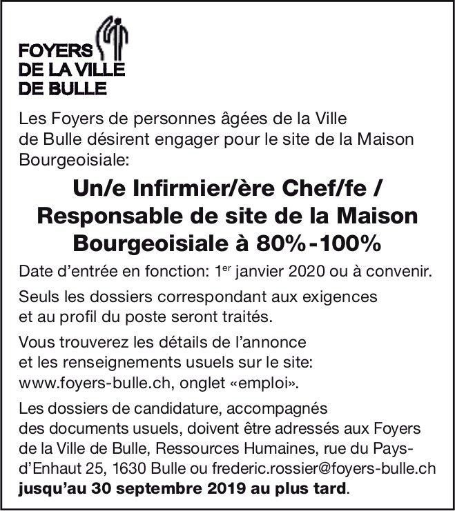 Un/e Infirmier/ère Chef/fe / Responsable de site 80%-100%, Maison Bourgeoisiale, Bulle, recherché