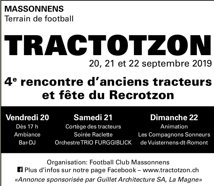 TRACTOTZON 20, 21 et 22 septembre 2019, Terrain de football, Massonnens