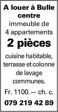 Appartement 2 pièces, Bulle, à louer
