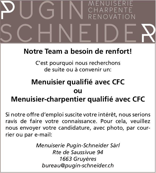 Menuisier qualifé avec CFC ou Menuisier-charpentier qualifé avec CFC, Menuiserie Pugin-Scneider Sàrl