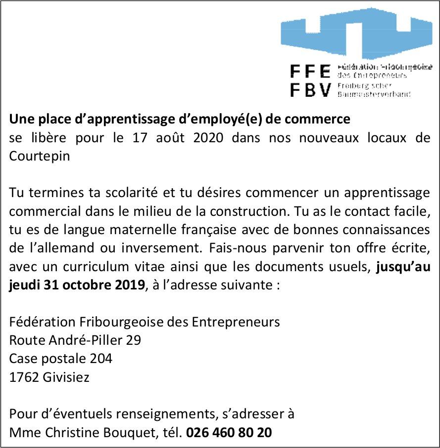 Une place d'apprentissage d'employé(e) de commerce, Fédération Fribourgeoise des Entrepreneurs