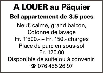 Bel appartement de 3.5 pièces, Pâquier, a louer