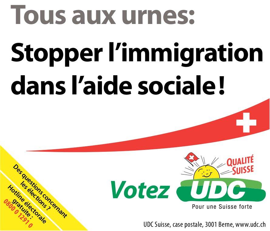 Votez UDC - Tous aux urnes: Stopper l'immigration dans l'aide sociale!